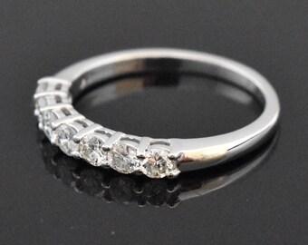 14K White Gold 7 Diamond Shared Prong Ring