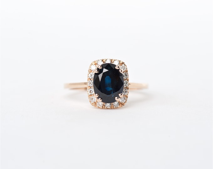 The Kaiya - 14k Handcrafted Rose Gold Oval Shaped Blue Sapphire Unique Halo Round Brilliant Diamonds Engagement Ring Anniversary Ring