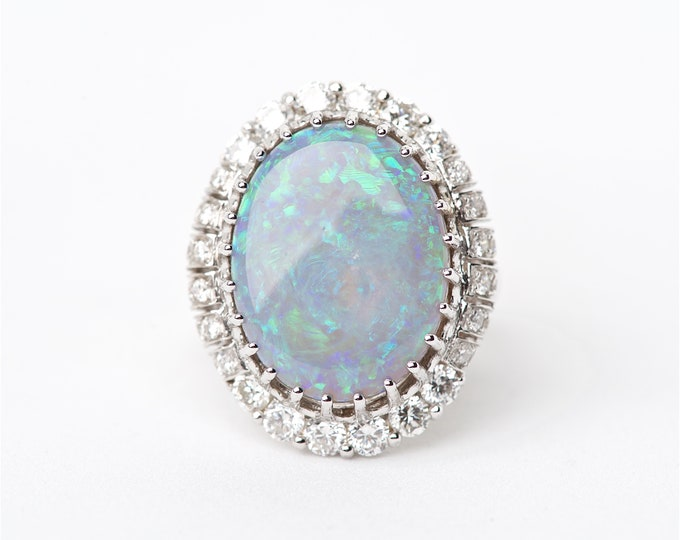 The Bahari - 18K Handcrafted White Gold Oval Shaped Australian Black Opal Unique Halo Round Brilliant Diamonds Engagement Ring