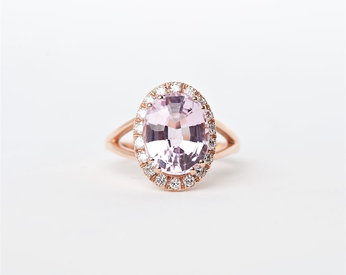 The Kory - 14K Handcrafted Rose Gold Oval Shaped Kunzite Unique Halo Round Brilliant Diamonds Engagement Ring Anniversary Ring