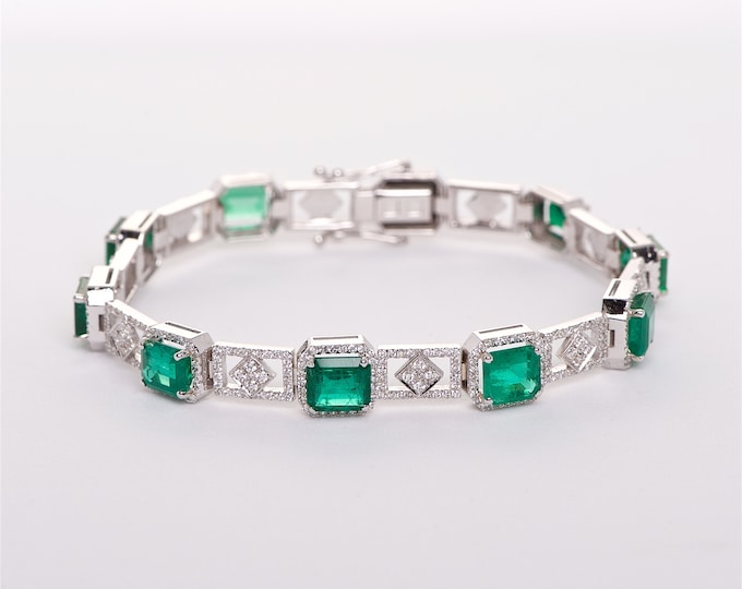 The Fiona - 18K White Gold Emerald Cut Colombian Emerald Unique Halo Diamond Engagement Ring Anniversary Ring Birthstone Ring