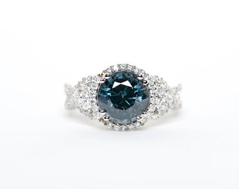 The Mia - GIA Certified 18K White Gold Round Blue Spinel Unique Halo Diamond Engagement ring Anniversary ring birthstone ring Custom Ring