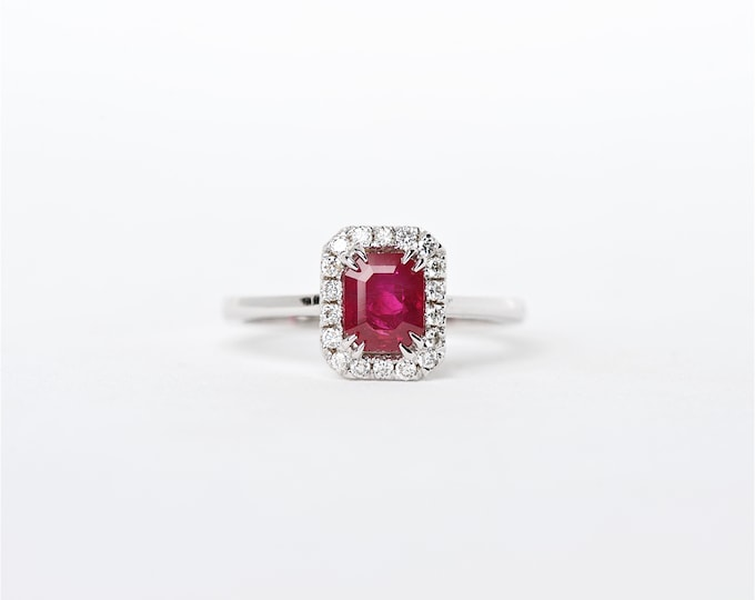 The Giselle - 18K Handcrafted Emerald Cut White Gold Ruby Unique Halo Diamond Engagement Ring Anniversary Ring Birthstone Ring