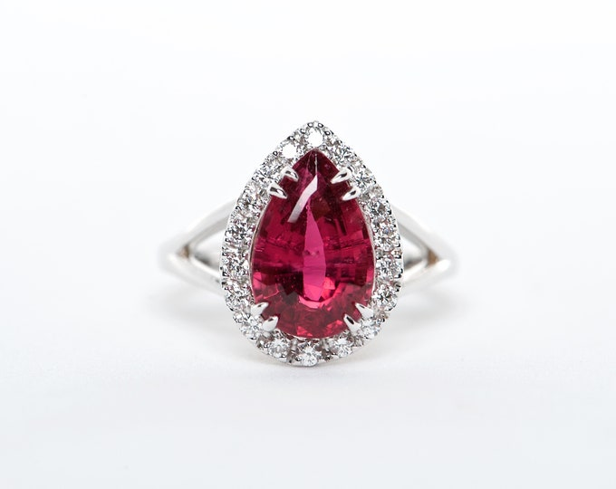 The Maddison - AAA 18K White Gold Pear Rubellite Tourmaline Unique Halo Diamond Engagement Ring Anniversary Ring Birthstone Ring Custom Ring