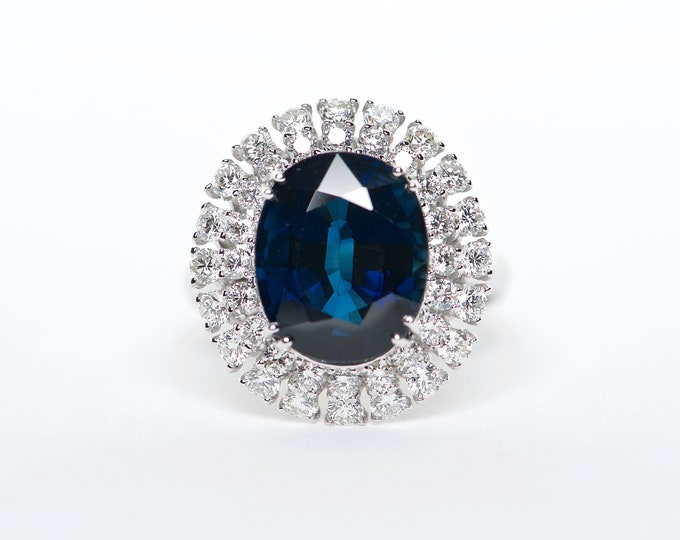 The Maya - Handcrafted 18K White Gold Oval Cut Blue Spinel Unique Halo Diamond Engagement Ring Anniversary Ring Birthstone Ring Custom Ring
