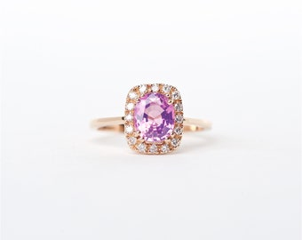 The Brooklyn - 18K Rose Gold Oval Shaped Very Fine Pink Sapphire Unique Halo Diamond Anniversary Ring Engagement Ring Birthstone Ring