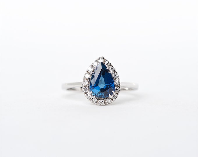 The Liv - 18K Handcrafted White Gold Pear Shaped Blue Sapphire Unique Halo Round Brilliant Diamonds Engagement Ring Anniversary Ring