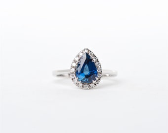 The Tessa   18K handcrafted   Pear Shaped blue   Sapphire Unique Halo Diamond   Engagement Ring   Anniversary Ring   Birthstone Ring