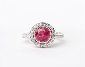 The Razia - 18K Handcrafted White Gold Round Shaped Pink Tourmaline Unique Halo Round Brilliant Diamonds Engagement Ring Anniversary Ring