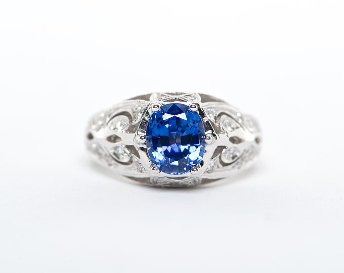 The Sally - GIA Certified 18K White Gold Cornflower Blue Sapphire Unique Halo Diamond Engagement Ring Anniversary Ring Birthstone Ring