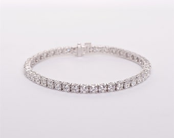 The Alice - GIA certified Handcrafted 18K White Gold 42 CountUnique Halo Diamonds Tennis Bracelet Anniversary Bracelet Birthstone Bracelet