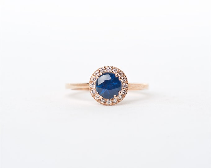 The Kali - 14K Handcrafted Round Shaped Rose Gold Cabochon Blue Sapphire Unique Halo Diamond Engagement Ring Anniversary Ring