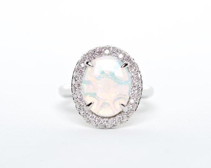 The Cora - 18K White Gold Oval Australian Opal Unique Halo Diamond Engagement Ring Anniversary Ring Birthstone Ring Custom Ring