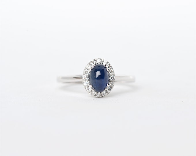 The Lara - 18K Handcrafted White Gold Oval Shaped Blue Cabochon Sapphire Unique Halo Round Brilliant Diamonds Engagement Ring