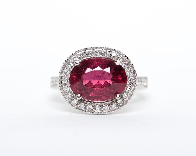 The kimmy - AAA 18K White Gold   Oval shaped    Rubellite Tourmaline   Unique Halo Diamond   Engagement Ring   Anniversary Ring