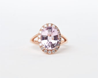 The Olivia - 14K Rose Gold Oval Shaped Kunzite Unique Halo Diamond Engagement Ring Anniversary Ring Birthstone ring