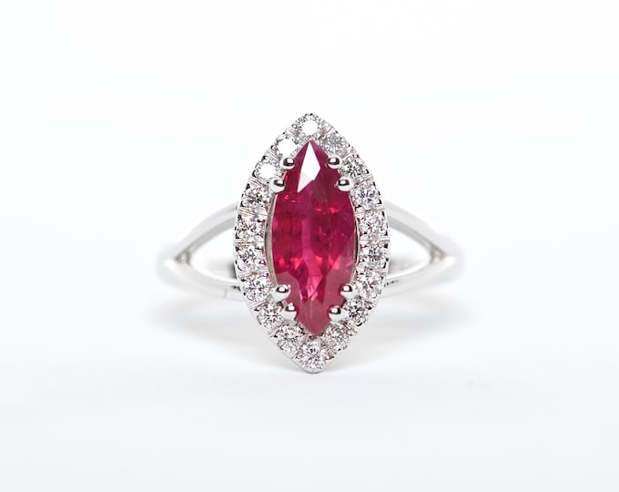 The Athena - AAA 18K White Gold Marquise Ruby Unique Halo Diamond Engagement Ring Anniversary Ring Birthstone Ring Custom Ring