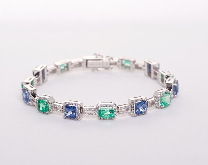 The Ursula - 18K Sapphire, Emerald, and Diamond Bracelet