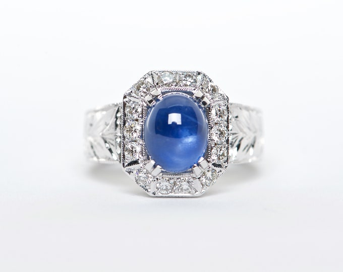 The Ivana - AAA 18K White Gold Oval Cabochon Blue Sapphire Unique Halo Diamond Engagement Ring Anniversary Ring Birthstone Ring Custom Ring