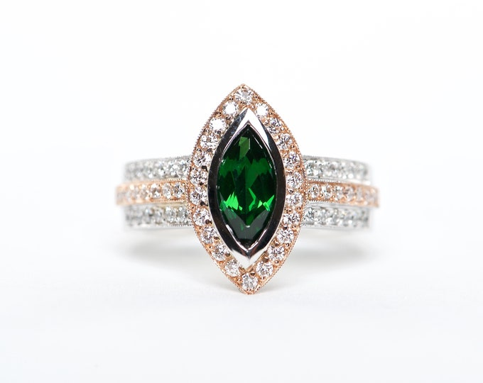The Florence - AAA 18K Rose Gold White Gold Marquise Tsavorite Unique Halo Diamond Engagement Ring Anniversary Ring Birthstone Ring
