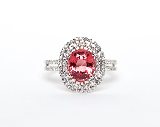 The Dakota - AAA 18K White Gold Oval Vibrant Red Spinel Unique Halo Diamond Engagement Ring Anniversary Ring Birthstone Ring Custom Ring
