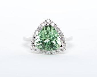 The Eliza - GIA Certified 18K White Gold Trillion Tourmaline Unique Halo Diamond Engagement Ring Anniversary Ring Birthstone Ring