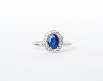The Rachel   18K Handcarfted Oval Shaped   Blue Sapphire   Unique Halo Diamond   Engagament Ring   Anniversary Ring  Birthstone Ring