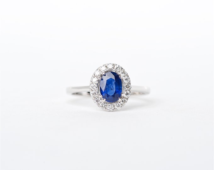 The Mina - 18K Handcrafted White Gold Oval Shaped Blue Sapphire Unique Halo Round Brilliant Diamonds Engagement Ring Anniversary Ring