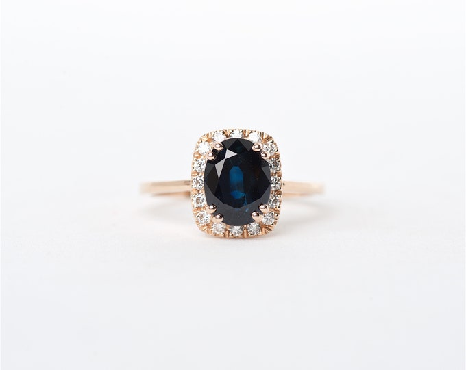 The Adurey - 14K Handcrafted Rose Gold Oval Shaped Blue Sapphire Unique Halo Diamond Engagement Ring Anniversary Ring Birthstone Ring