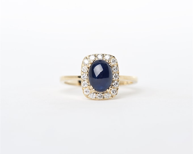 The Venus - 14K Handcrafted Oval Shaped Yellow Gold Cabochon Blue Sapphire Unique Halo Diamond Engagement Ring Anniversary Ring