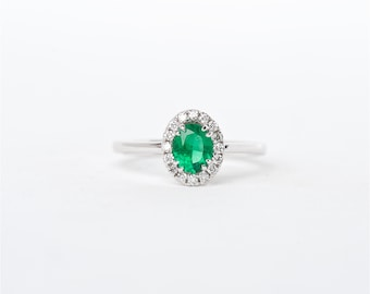 The Hope   Oval Shaped Colombian Emerald   Handcrafted 18K White Gold   Halo Diamond Engagement Ring   Anniversary Ring   Birthstone Ring