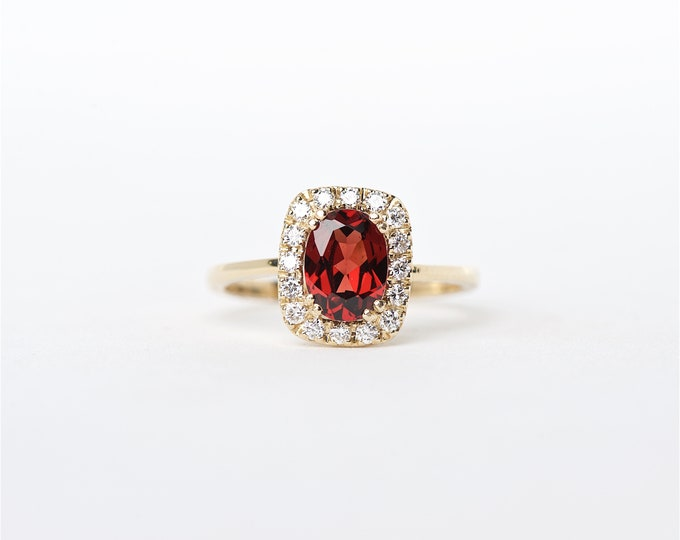 The Skyla - 14K Handcrafted Yellow Gold Oval Shaped Garnet Unique Halo Round Brilliant Diamonds Engagement Ring Anniversary Ring