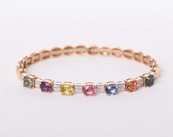The Eleanor -  Handcrafted 18K Rose Gold Multicolored Cushion Cut Sapphire Unique Halo Diamond Bangle Anniversary Bangle Custom Bangle