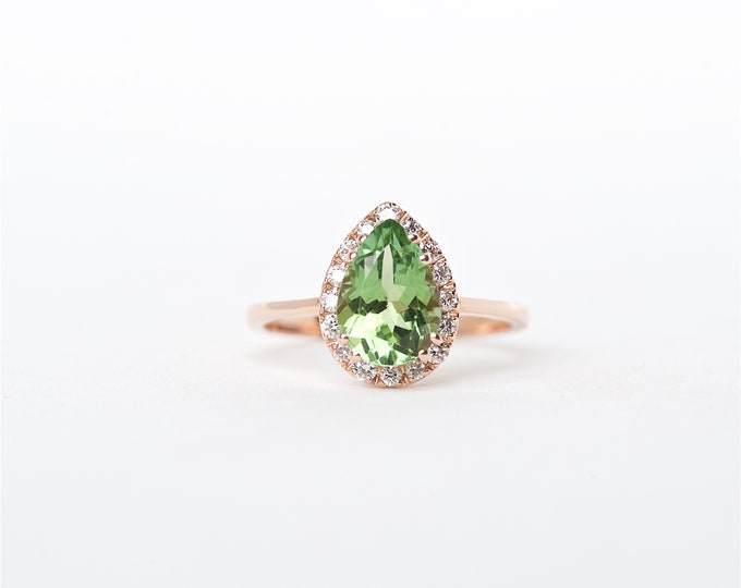 the Addison - 14K Rose Gold Pear Shaped Green Tourmaline Unique Halo Diamond Engagement ring Anniversary Ring Birthstone Ring