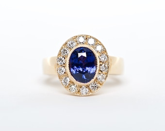 The Riley - 18K Yellow Gold Oval Vibrant Cornflower Blue Sapphire Unique Halo Diamond Engagement Ring Anniversary Ring Birthstone Ring
