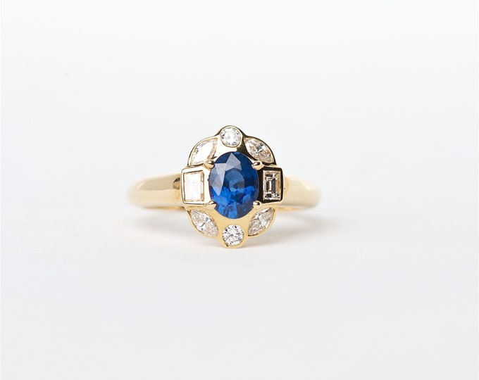 The Coleen - 18K Handcrafted Yellow Gold Oval Shaped Blue Sapphire Unique Halo Multi Shaped Diamonds Engagement Ring Anniversary gift