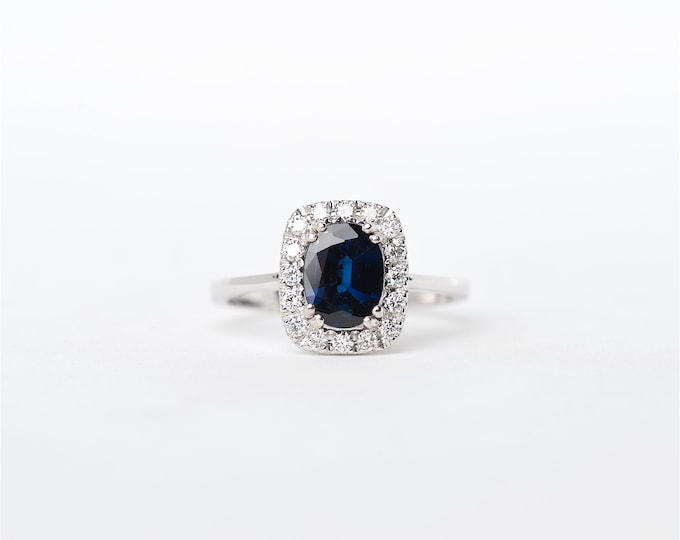 The Dana - 14k Handcrafted White Gold Cushion/Oval Shaped Blue Sapphire Unique Halo Round Brilliant Diamond Engagement Ring Anniversary Ring