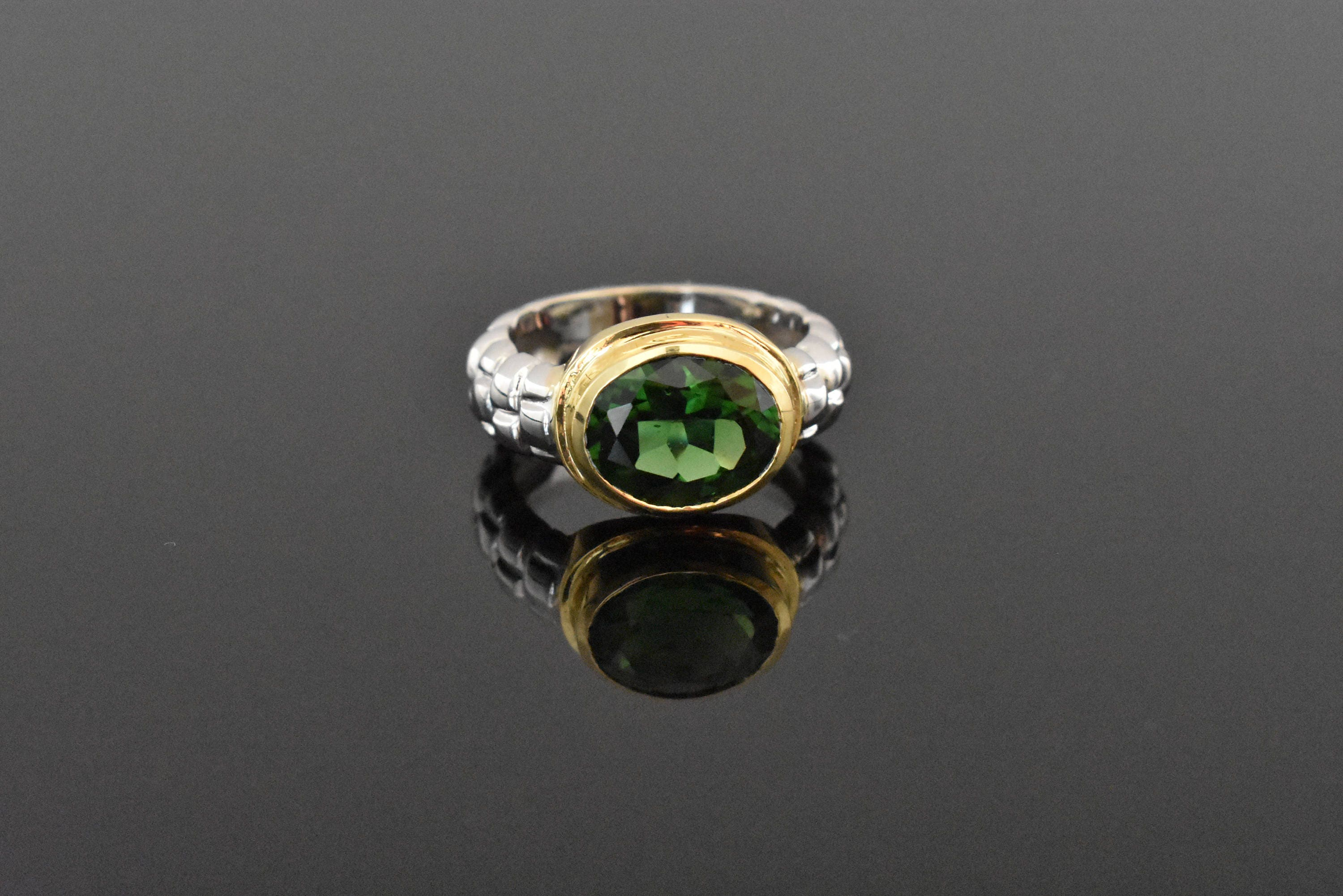 size stone weighs yellow three grams in oval this a ring tourmaline shank green and measures estate is gold band the approx img rings diamond vintage