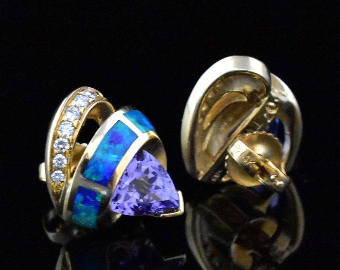Opal and Tanzanite 14K Gold Earings