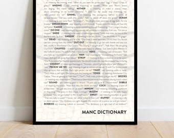 Manchester quote phrase dictionary print poster in A1, A2, A3 or A4