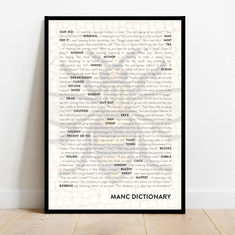 Manchester quote phrase dictionary print poster in A1 A2 A3 image 1