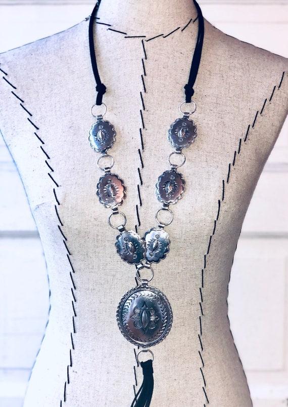 Concho Necklace Conch Silver Leather Tassel Gift Hank Henrietta