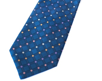 0f253e1256cb Pierre Cardin vintage geometric tie silk blue tie with small squares of  color, costume, fancy tie, tie tie