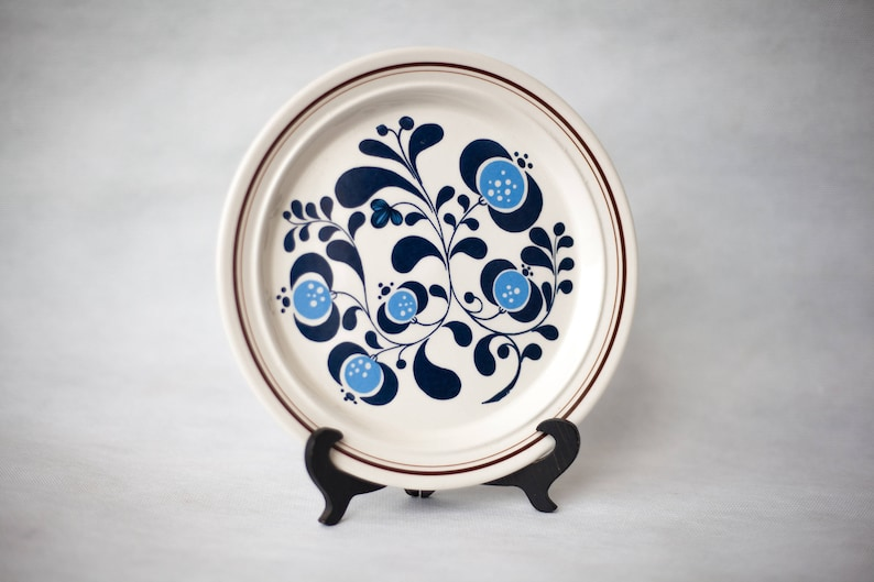 Vintage dessert plate, made in Portugal, deco SACAVÉM kitchen ceramic  plate, home decor, blue flowers pattern, small plate