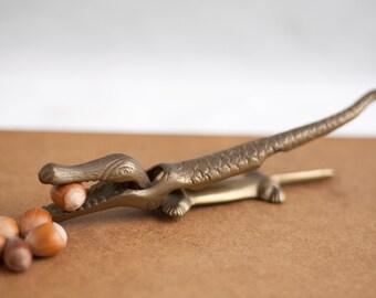 Vintage Nutcracker, brass crocodile figurine brass alligator accessory kitchen gadget, nut cracker, decoration, collection