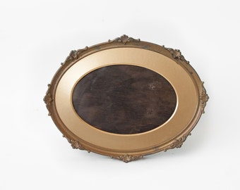 Vintage photo frame, photo frame to pose, gold metal and wood photo frame, oval photo frame, shabby chic, interior decoration, picture frame