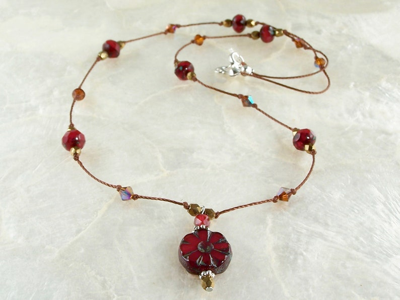 Czech Glass Necklace Red Pendant Necklace Flower Bead Necklace Purple Pendant Necklace Blue Pendant Necklace Drop Necklace