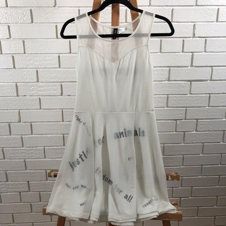 White Animal Rights Chant Dress image 0