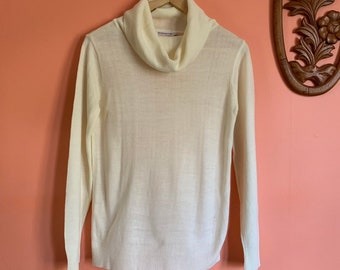 33d494bb748d9 Vintage 70s cowl neck sweater donnkenny womens ivory sweater size  small medium like new