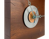 Reclaimed Cedar Slab Wall Clock quot Sundial quot Copper and Steel, Wood and Metal Starburst Wall Art